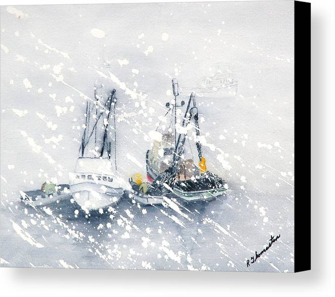Coastal Canvas Print featuring the painting Not All Fishing Is Fun by Robert Thomaston