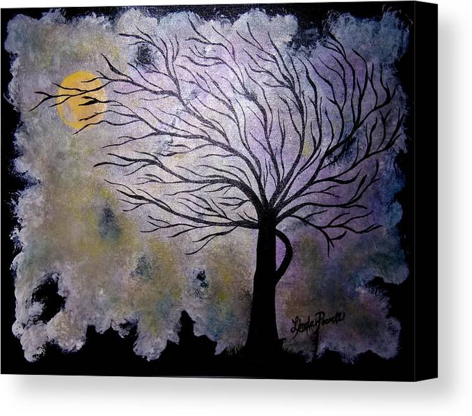 28 Inch Abstract Acrylic Night Landscape Canvas Print featuring the painting October Night 3 by Linda Powell