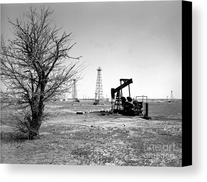 Oil Canvas Print featuring the photograph Oklahoma Oil Field by Larry Keahey