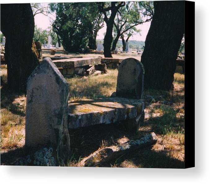 Grave Old Cementery Rocks Canvas Print featuring the photograph Old Grave by Cindy New