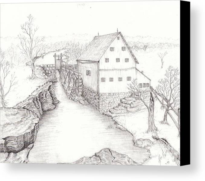 Realistic Drawing Canvas Print featuring the drawing Old Grist Mill by Dan Theisen
