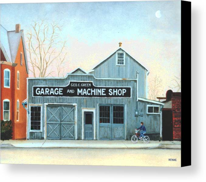 Machine Shop Canvas Print featuring the painting Old Machine Shop by Robert Henne