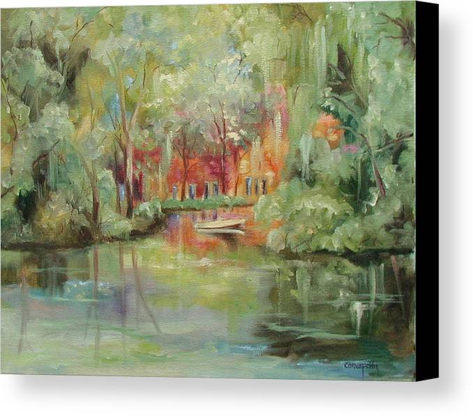 Bayou Canvas Print featuring the painting On A Bayou by Ginger Concepcion