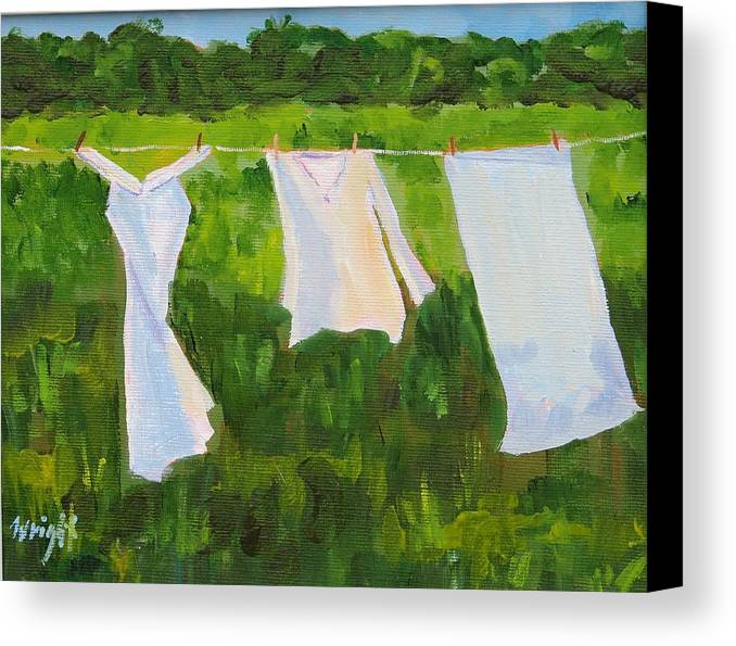Landscape Canvas Print featuring the painting On The Line by Molly Wright