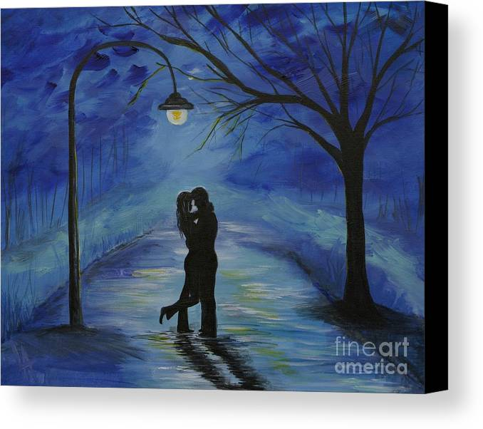 Couple Canvas Print featuring the painting One Love One Lifetime by Leslie Allen
