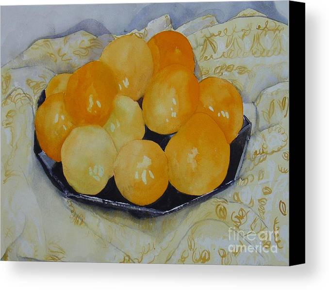 Still Life Watercolor Original Leilaatkinson Oranges Canvas Print featuring the painting Oranges by Leila Atkinson