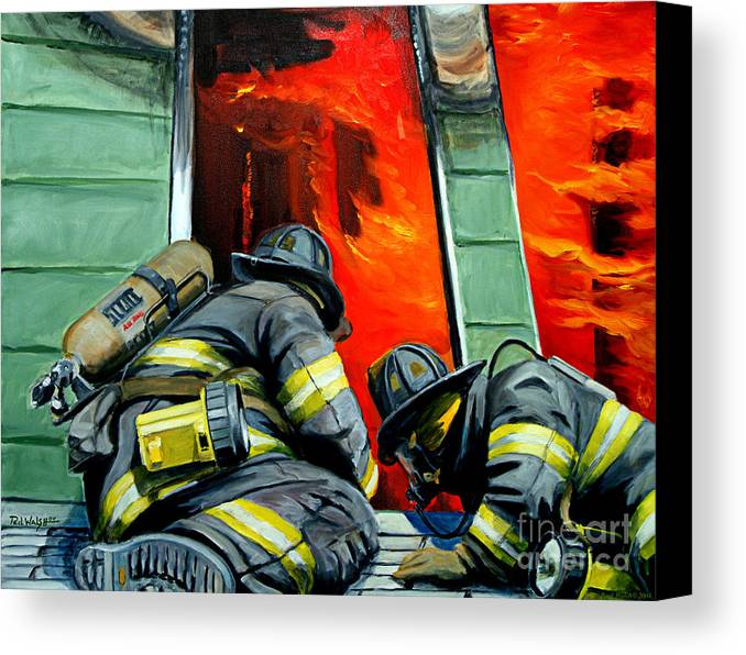 Firefighting Canvas Print featuring the painting Outside Roof by Paul Walsh