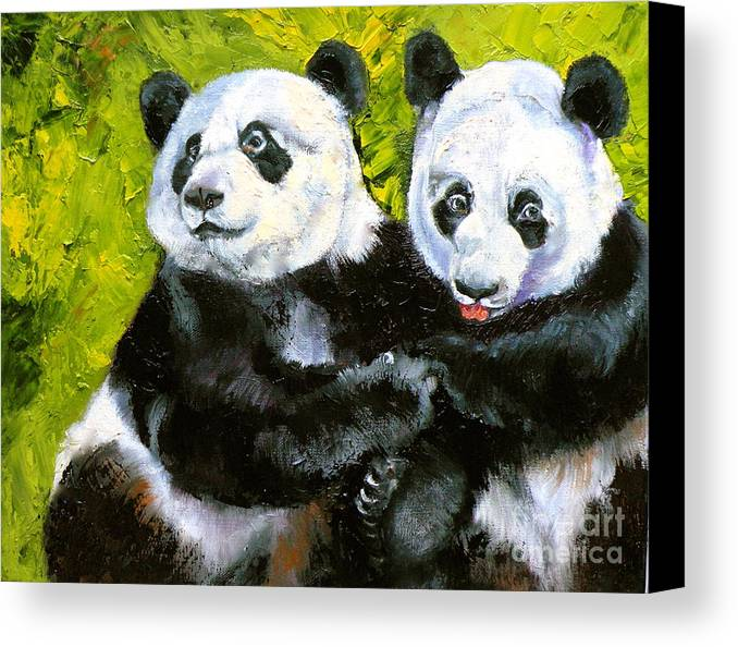Panda Canvas Print featuring the painting Panda Date by Susan A Becker
