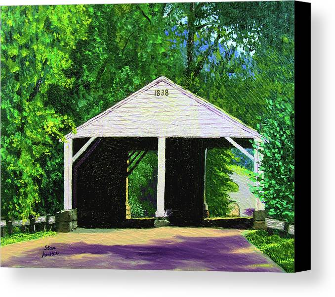 Covered Bridge Canvas Print featuring the painting Park Covered Bridge by Stan Hamilton