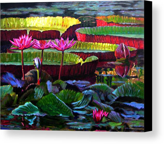 Water Lilies Canvas Print featuring the painting Patterns Of Color And Light by John Lautermilch