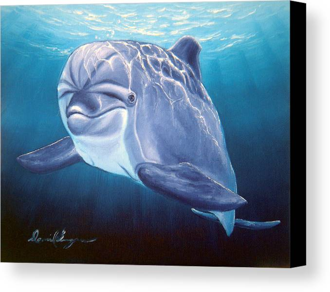 Dolphin Canvas Print featuring the painting Peaceful Greeting by Daniel Bergren