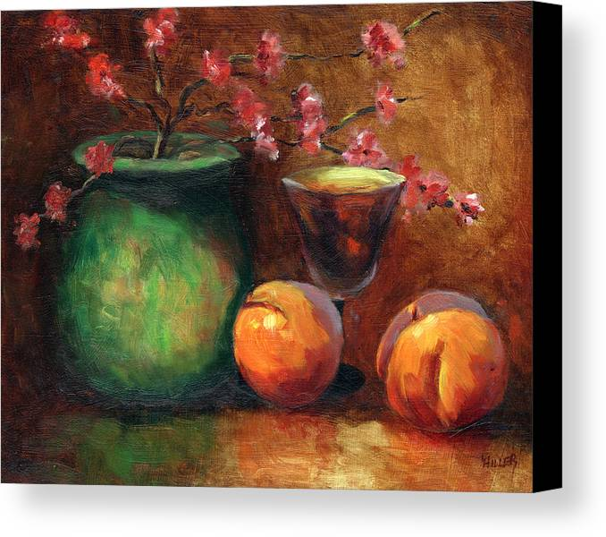 Peaches Canvas Print featuring the painting Peach Blossoms by Linda Hiller