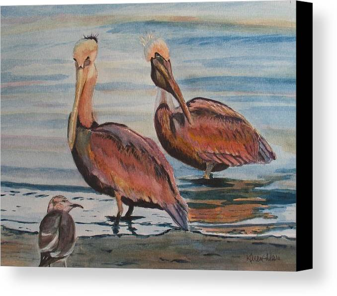 Pelicans Canvas Print featuring the painting Pelican Party by Karen Ilari