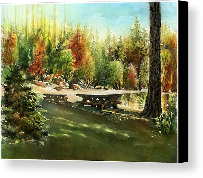 Landscape Canvas Print featuring the painting Picnick Tables by Dumitru Barliga