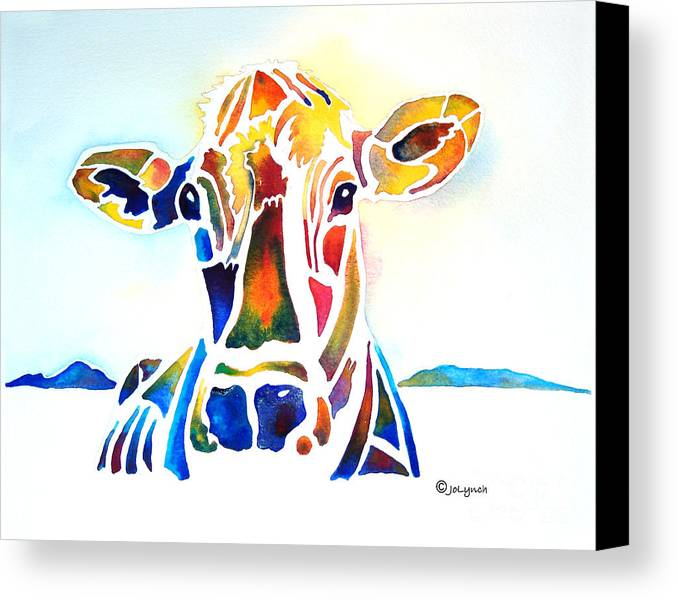 Cow Canvas Print featuring the painting Placid The Cow by Jo Lynch