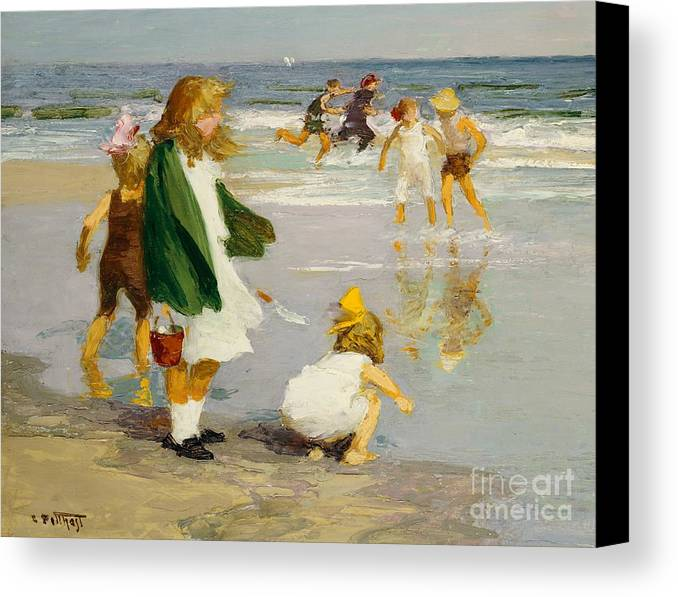 Children; Male; Female; Girl; Girls; Playing; Play; Surf; Beach; Seaside; Holiday; Vacation; Fun; Running; Windy; Summer; Summertime; Innocence; Childhood; Paddling; Vacations Canvas Print featuring the painting Play In The Surf by Edward Henry Potthast