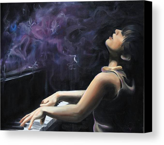 Piano Canvas Print featuring the painting Playing With Feeling by Maryn Crawford