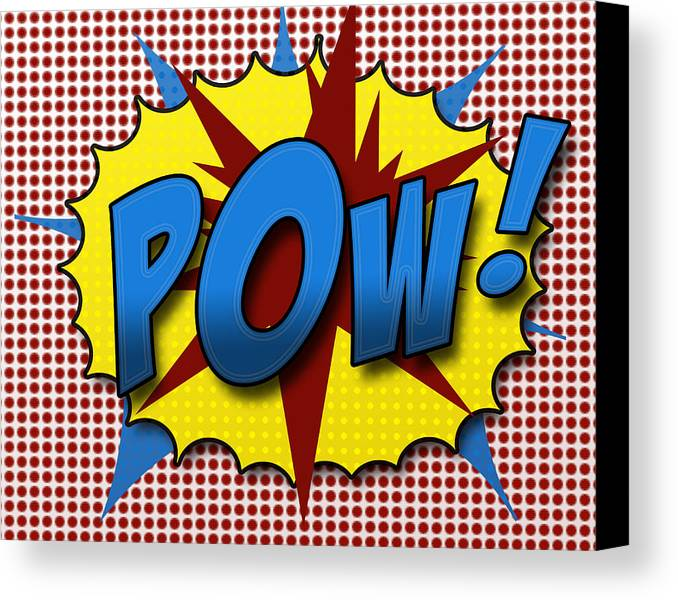 Comic Canvas Print featuring the digital art Pop Pow by Suzanne Barber