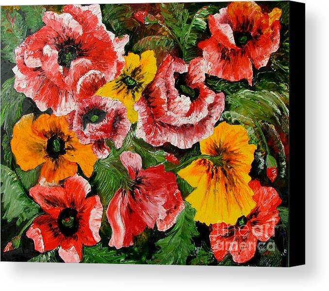 Poppies Canvas Print featuring the painting Poppies by Inna Montano