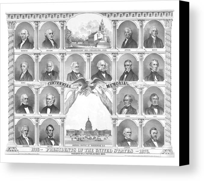 Us Presidents Canvas Print featuring the mixed media Presidents Of The United States 1776-1876 by War Is Hell Store