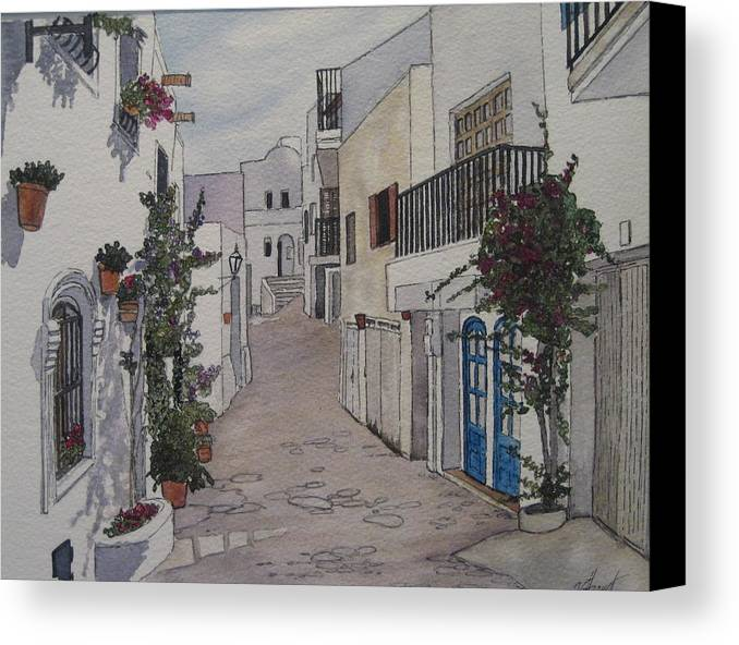 Spain Canvas Print featuring the painting Pueblo by Victoria Heryet