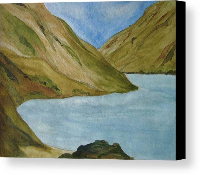 Landscape Canvas Print featuring the painting Quiet Bay by Liz Vernand