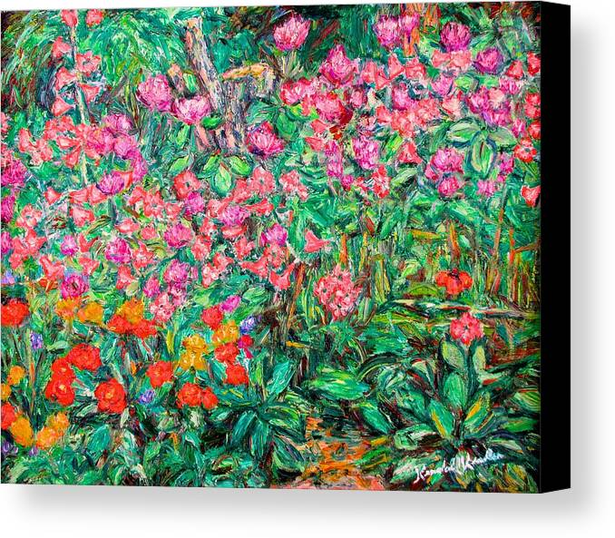 Kendall Kessler Canvas Print featuring the painting Radford Flower Garden by Kendall Kessler