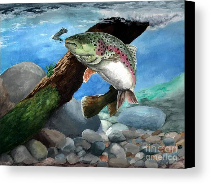 Fish Canvas Print featuring the painting Rainbow by Kathleen Kelly Thompson