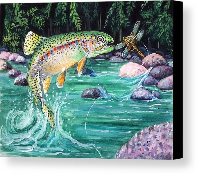 Fish Canvas Print featuring the print Rainbow Trout by Bette Gray