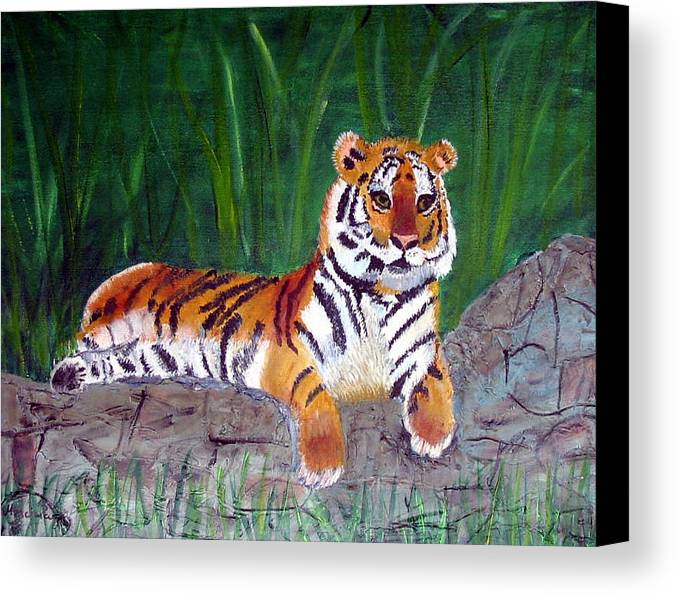 Animal Canvas Print featuring the painting Rajah by Marcia Paige