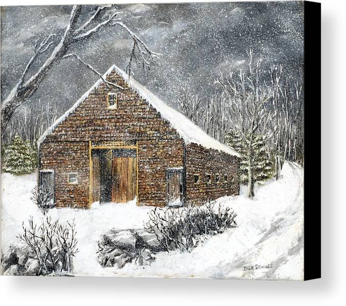 Barns Canvas Print featuring the painting Ray Emerson's Old Barn by Jack Skinner