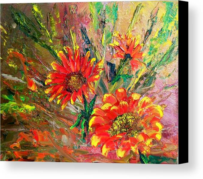 Flowers Canvas Print featuring the painting Red Hot Summer Flower by Lynda McDonald