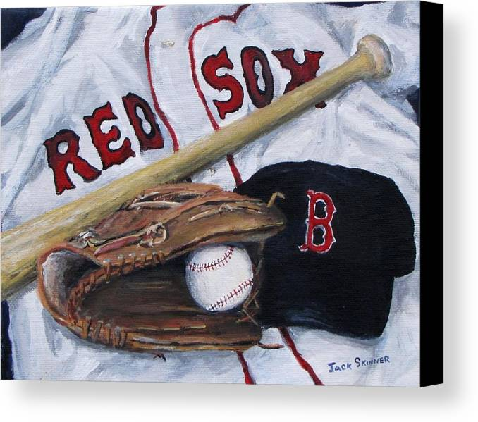 Red Sox Canvas Print featuring the painting Red Sox Number Six by Jack Skinner