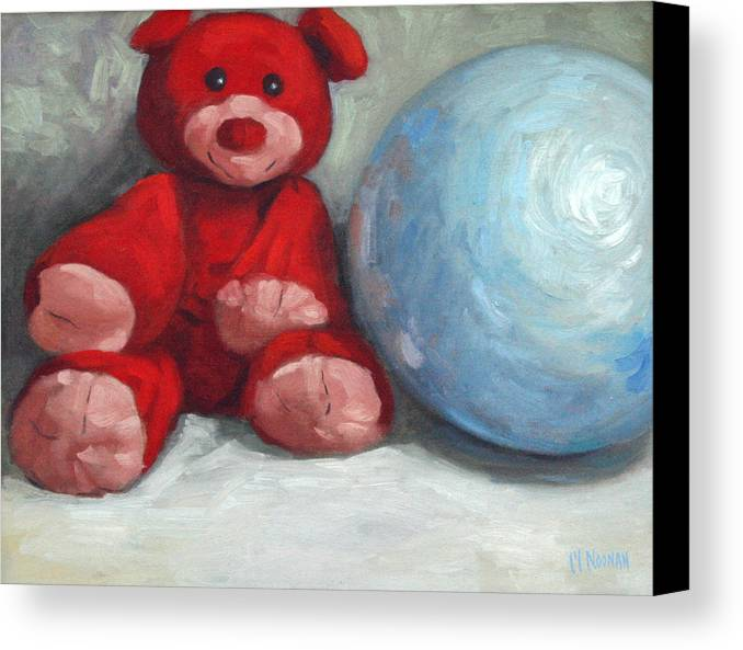 Teddy Bear Canvas Print featuring the painting Red Teddy And A Blue Ball by William Noonan