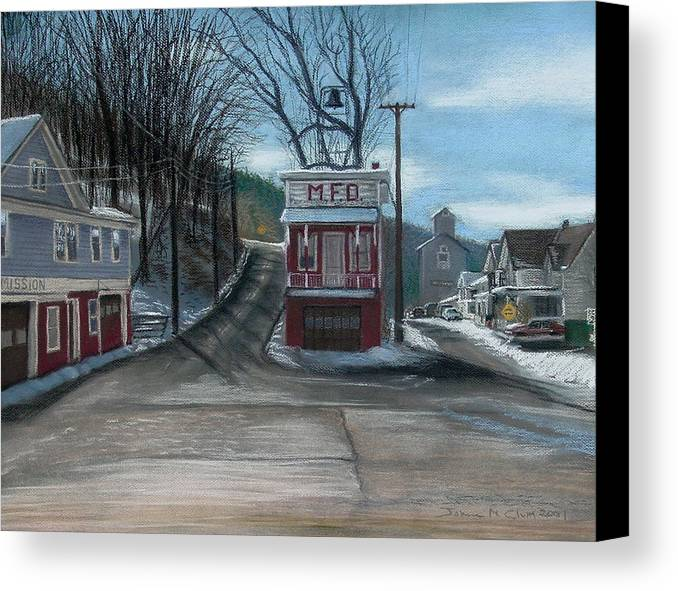 Firehouse Canvas Print featuring the painting Route 6 Meshoppen Pa by John Clum