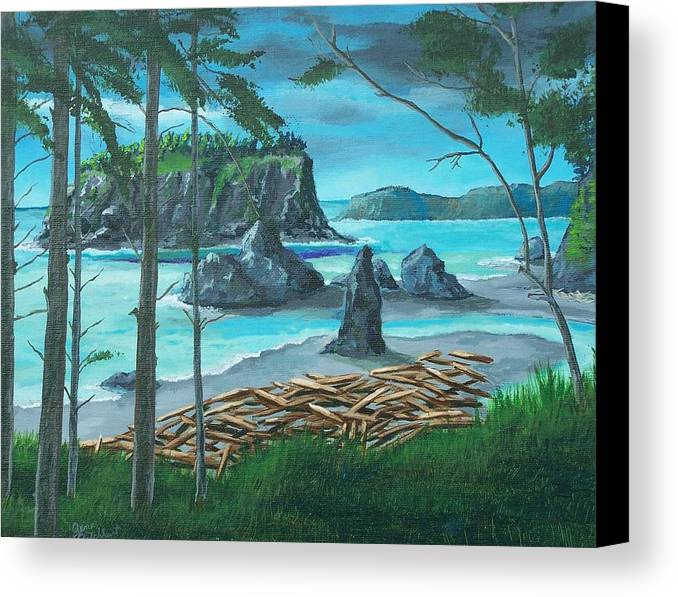 Stormy Ocean Canvas Print featuring the painting Ruby Beach by Gene Ritchhart
