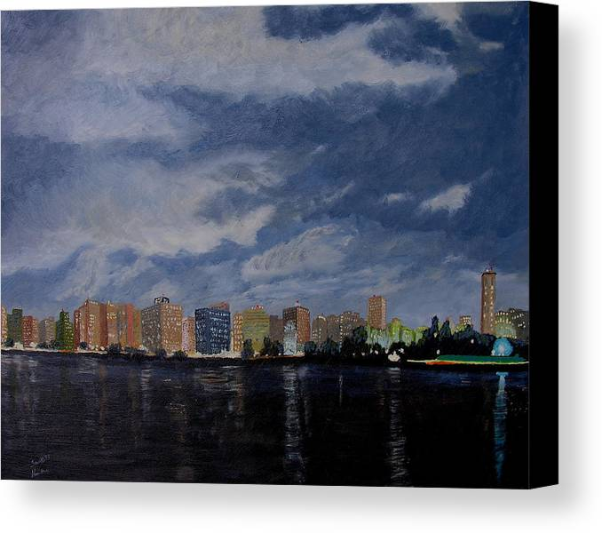 San Wan Canvas Print featuring the painting San Wan At Night by Stan Hamilton