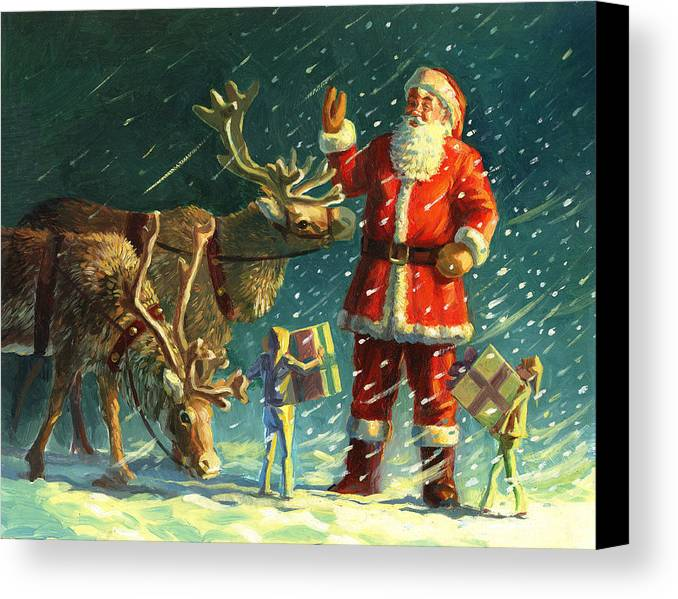 Santa Canvas Print featuring the painting Santas And Elves by David Price