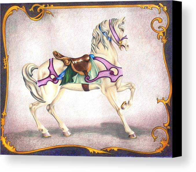 Carousel Horses Canvas Print featuring the drawing Searching For The Brass Ring No. Six by Rick Ahlvers