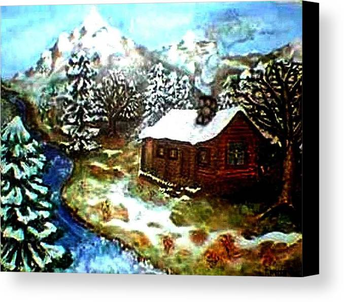 Landscape Canvas Print featuring the painting Serenity Cabin by Tanna Lee M Wells