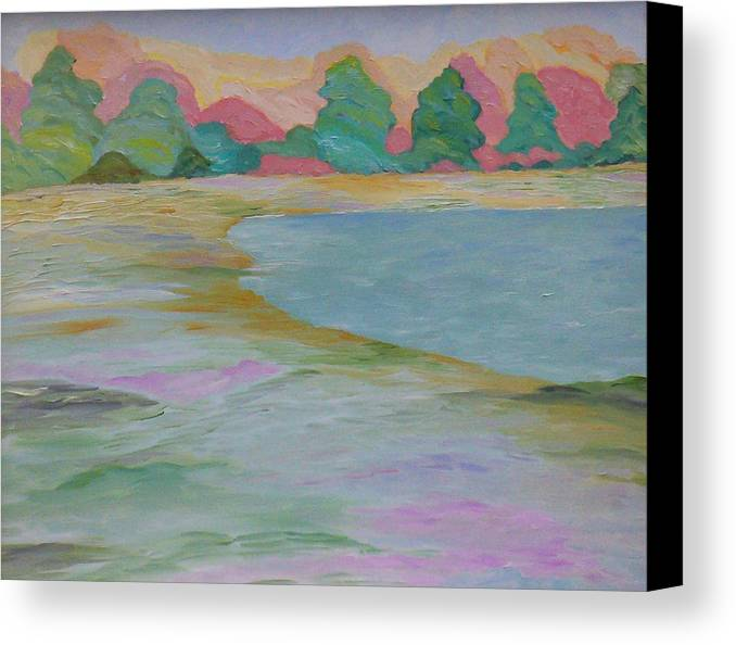 Lake Canvas Print featuring the painting Serinity by Cary Singewald