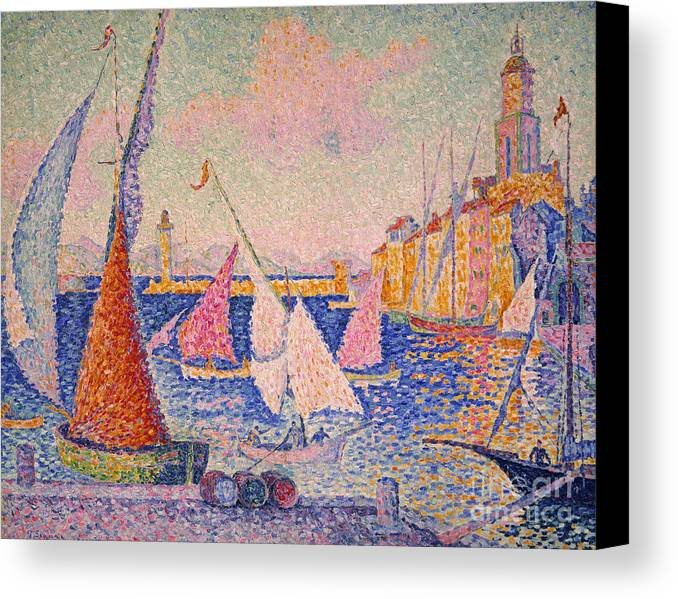 1899 Canvas Print featuring the photograph Signac: St. Tropez Harbor by Granger