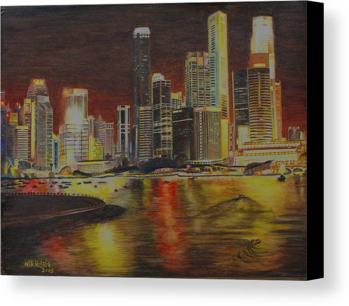 Cityscape Canvas Print featuring the painting Singapore Nights by Nik Helbig