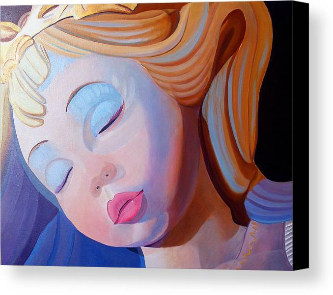 Doll Canvas Print featuring the painting Sleeping Beauty by JoeRay Kelley