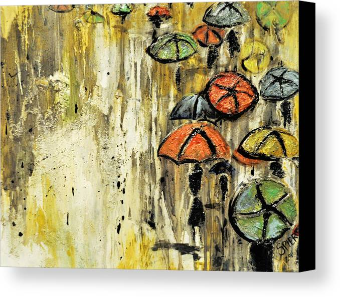 Umbrella Canvas Print featuring the painting Sold Under The Weather by Amanda Sanford