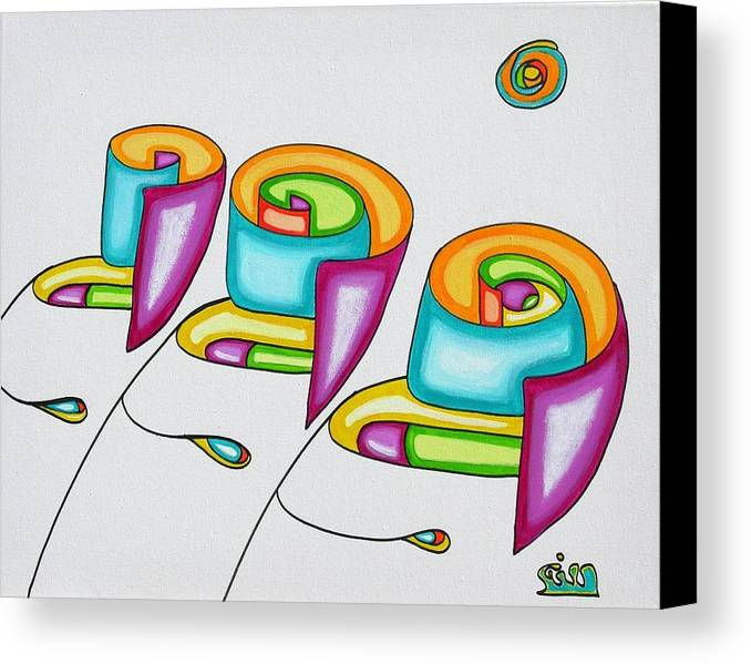 Fantasy Canvas Print featuring the painting Spiral Triplets by      Gillustrator