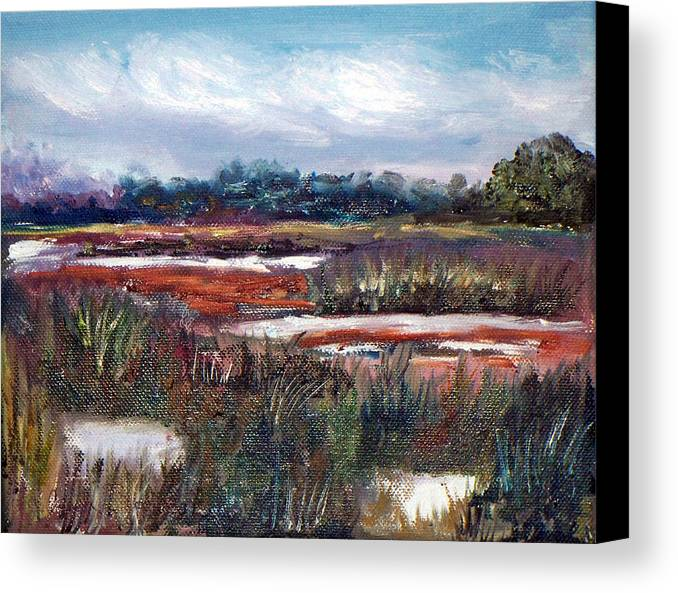 Oil Canvas Print featuring the painting Spring Marsh by Carol Sprovtsoff