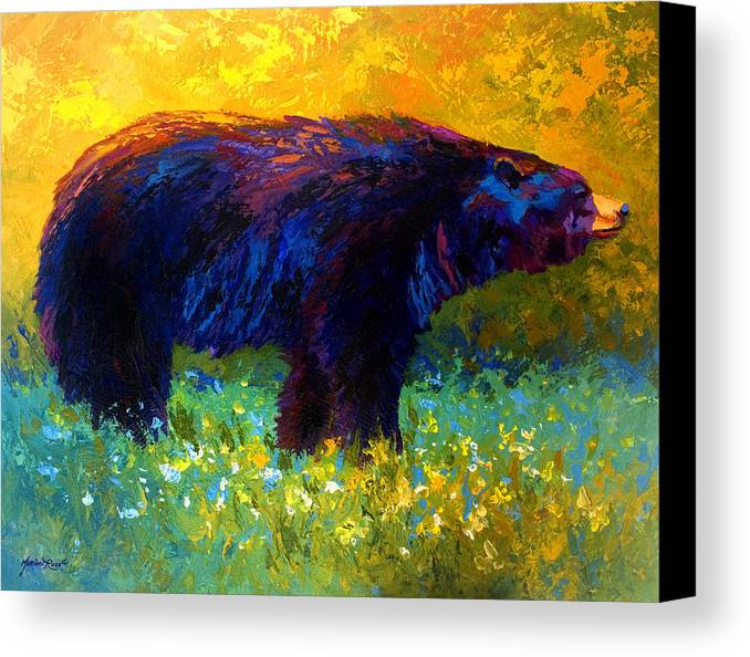 Bear Canvas Print featuring the painting Spring Stroll - Black Bear by Marion Rose