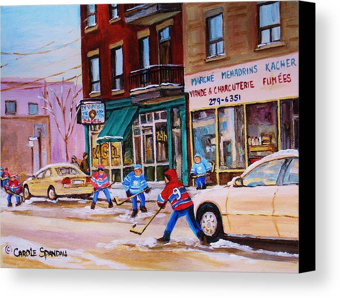 Montreal Canvas Print featuring the painting St. Viateur Bagel With Boys Playing Hockey by Carole Spandau