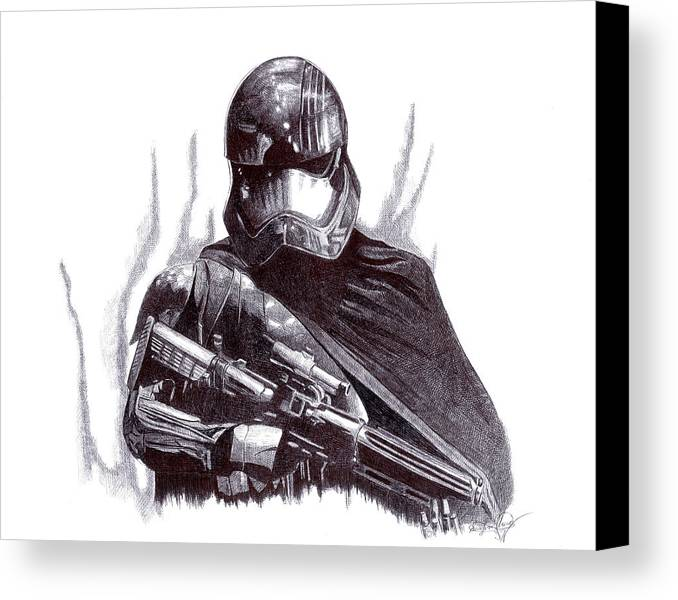 Captain Phasma Canvas Print featuring the drawing Star Wars - Captain Phasma by Serafin Ureno